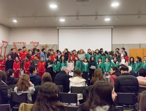 Alunos de escolas de Macau visitam a escola Oliveira Júnior
