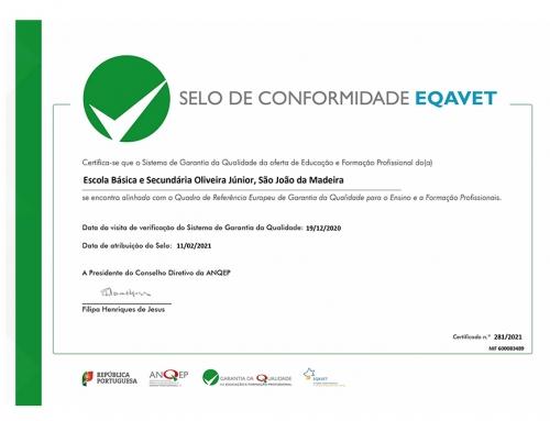 Atribuição do selo de conformidade de EQAVET pela ANQEP